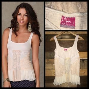 Free People Lace Up Corset Tank Top Blouse